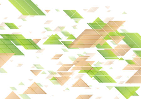 Green and brown geometric minimal abstract background. Hi-tech vector design