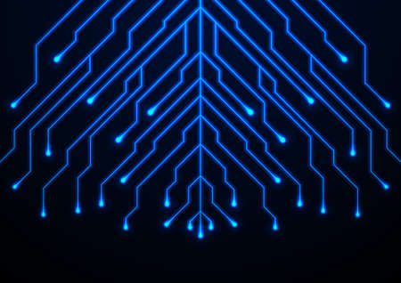 Abstract neon blue tech circuit board lines sci-fi background. Futuristic computer chip vector design
