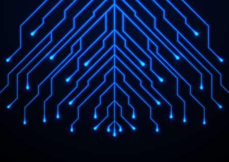 Abstract neon blue tech circuit board lines sci-fi background. Futuristic computer chip vector design