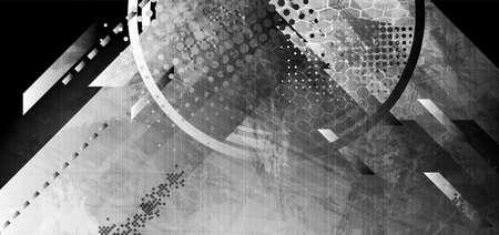Dark gray abstract geometric technology grunge background. Vector design Vettoriali