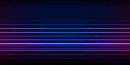 Blue and ultraviolet neon laser lines with reflection. Abstract rays technology retro background. Futuristic glowing vector minimal design