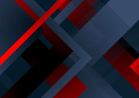 Dark blue and red technology geometric abstract background. Vector minimal art design