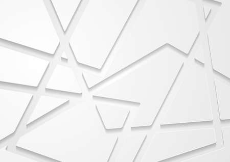 Gray white paper grid pattern abstract background. Geometric tech vector design Vettoriali