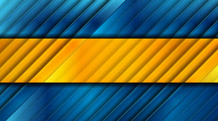 Glossy blue and orange abstract stripes geometric tech background. Vector design