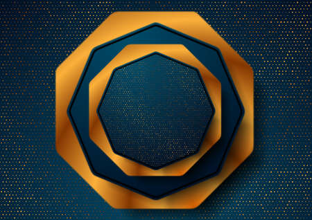 Blue and luxury golden geometric abstract background with octagons and shiny dots. Vector design
