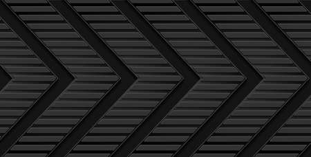 Black abstract tech geometric background with arrows. Vector dark design