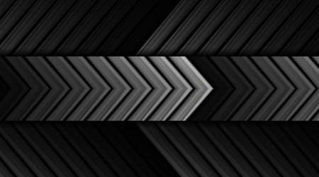 Black glossy and gray silver metallic arrows. Geometric tech abstract background. Vector design