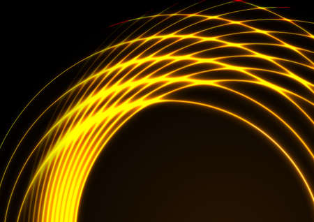 Yellow and orange neon laser circles technology background. Abstract vector design