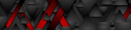 Black and red geometric tech banner with triangles. Abstract vector background