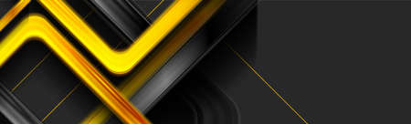Black and yellow glossy squares abstract technical background. Vector geometric banner design Vettoriali