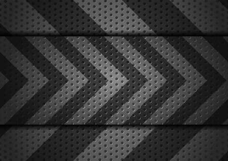 Metallic arrows on dark perforated background abstract design. Vector illustration