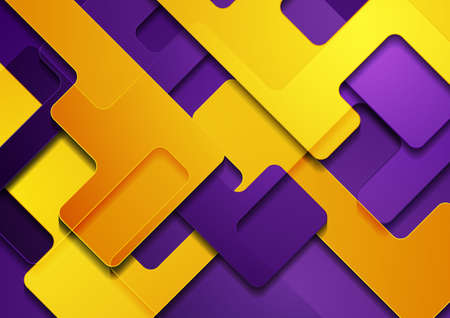 Orange and violet glossy geometric shapes abstract background. Vector graphic design Vettoriali