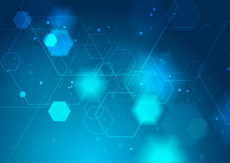 Bright blue abstract geometric technology background. Vector network connection graphic design