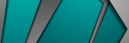Turquoise gray tech geometric material abstract background. Corporate vector banner design Vettoriali