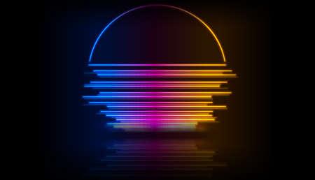 Retro 80s neon laser sun abstract colorful background. Vector design