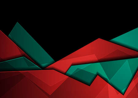 Turquoise and red glossy corporate abstract geometric background. Vector design Vettoriali