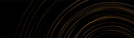 Golden circles on black abstract geometric tech background. Vector luxury banner design