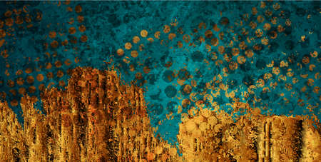 Turquoise and golden grunge texture abstract background. Vector design