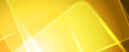 Abstract bright yellow shiny geometric tech background with glowing lines. Vector illustration