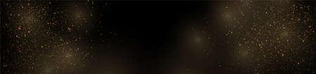 Golden luxury shiny bokeh lights banner design. Sparkling confetti background. Vector Christmas particles illustration