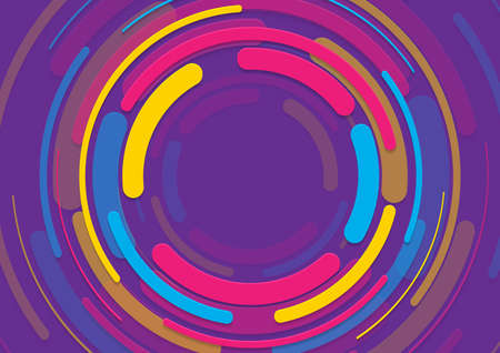 Colorful minimal geometric circles abstract background. Paper technology vector design Vettoriali