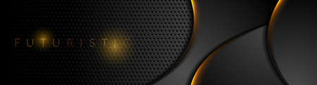 Futuristic technology abstract perforated background with orange neon glowing waves. Vector banner design Vettoriali