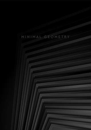 Black stripes abstract technology geometric background. Vector flyer design