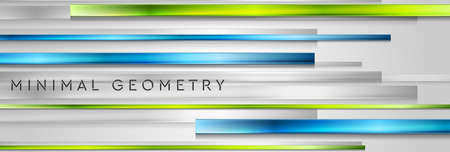 Geometric technology background with green blue glossy stripes. Vector banner design