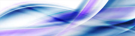 Abstract shiny blue purple smooth blurred waves banner design. Vector wavy header background
