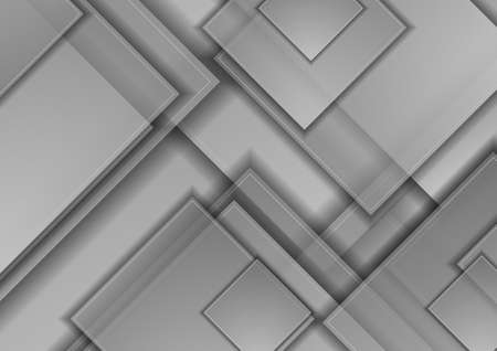 Gray silver glossy squares abstract technology background. Geometric vector design Vettoriali