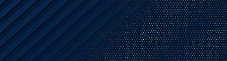 Dark blue and golden abstract tech geometric background. Luxury glitter dots concept vector banner design