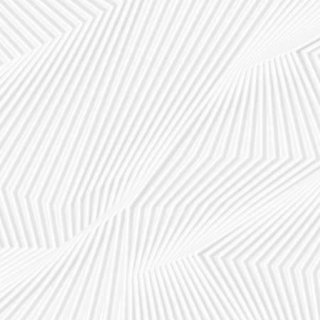Gray white curved refracted 3d geometric lines tech background. Abstract light monochrome smooth minimal vector design