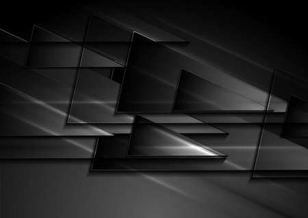 Black shiny glossy triangles abstract geometric background. Vector illustration Vettoriali