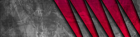 Red and gray stripes abstract grunge tech background. Vector banner design