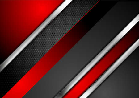 Technology red and black abstract background with metallic stripes and perforated texture. Vector geometric design Vettoriali