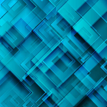 Bright blue glossy squares abstract technology background. Geometric vector design Vettoriali
