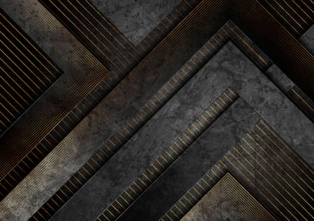 Black and golden abstract tech geometric grunge background. Luxury corporate vector design