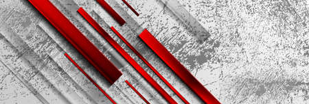 Geometric grunge technology background with red glossy stripes. Vector banner design