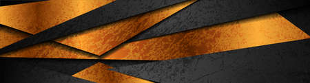 Bronze and black grunge geometric corporate background. Vector banner design Vettoriali