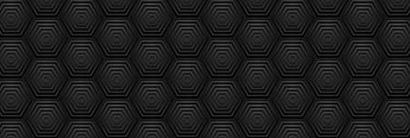 Black geometric hexagons abstract technology background. Dark modern futuristic vector banner design Vettoriali