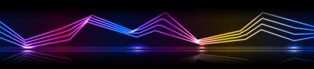 Glowing neon laser curved lines technology banner. Futuristic vector background
