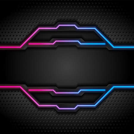 Futuristic perforated technology abstract background with blue purple neon glowing lines. Vector design