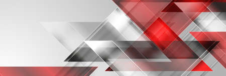 Red and silver gray glossy triangles abstract technology background. Geometric vector design