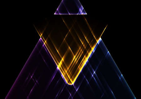 Colorful glowing neon triangles abstract tech background. Geometric vector design Vettoriali
