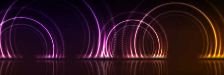 Orange and purple neon laser circles with reflection. Abstract technology background. Futuristic glowing vector banner design