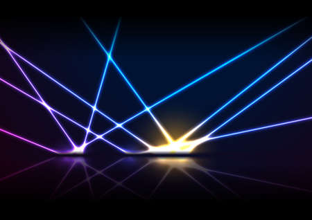Blue purple neon laser lines with reflection. Abstract rays technology retro background. Futuristic glowing graphic design. Modern vector illustration