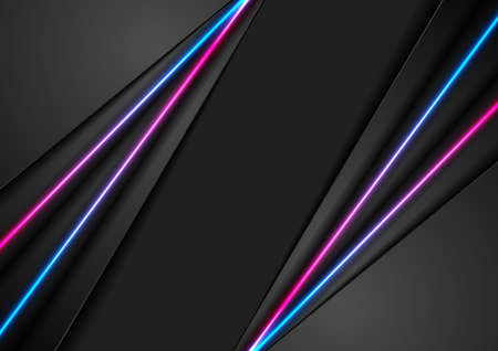 Black abstract corporate background with blue ultraviolet neon glowing lines. Vector design Vectores