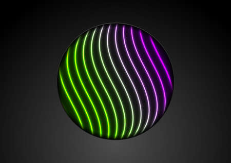 Hi-tech futuristic background with glowing neon waves and black circle. Abstract retro vector design