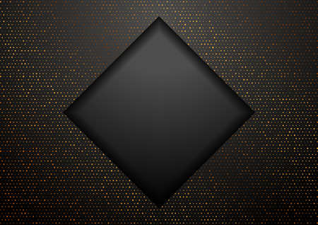 Geometric tech black square background with golden dots. Abstract vector design