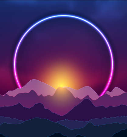 Retro nature abstract background witn neon ring and night mountains. Vector graphic design Vectores